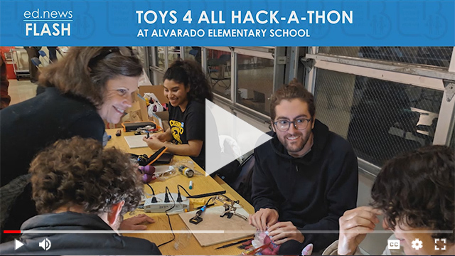 Ed.News Flash - Student working at the Toys 4 All Hack-a-thon