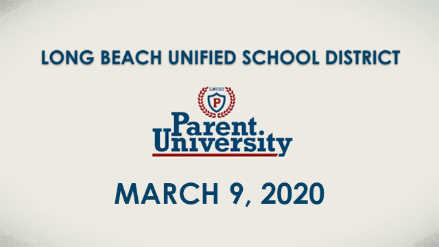 Parent University - March 9, 2020 - Video