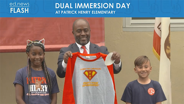 State Superintendent Tony Thurmond with Henry students