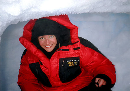 Samantha Larsen poses inside ice cave