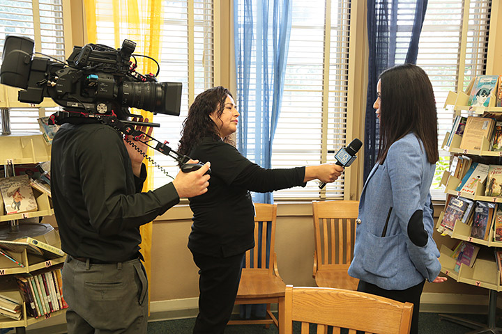 Henry Principal Veronica Madrigal being interviewed by LBUSD's Office of Multimedia Services