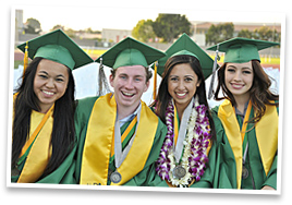 Four poly graduates smile for the camera