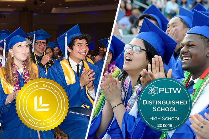 McBride and CAMS graduates with PLTW and Linked Learning award logos