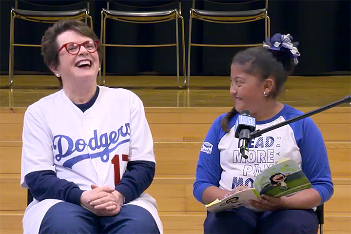Billie Jean King with student at Oropeza Elementary