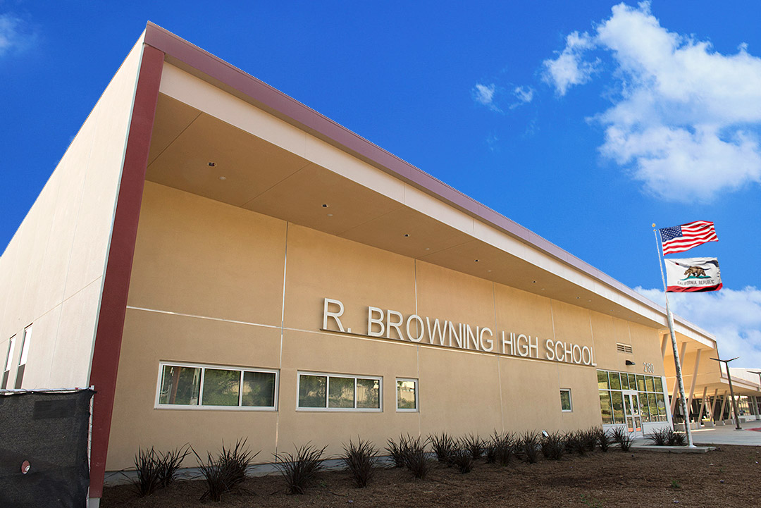 Front entrance to the newly built Browning High School.