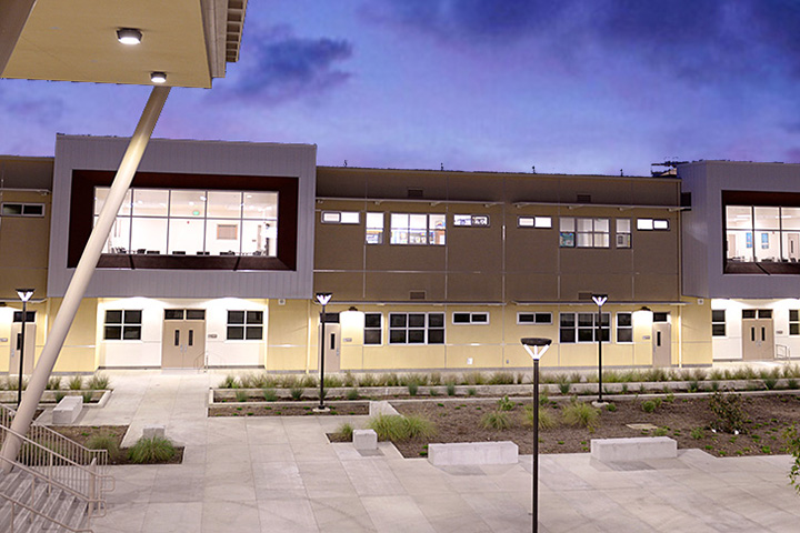Outside view of Browning High School courtyard.