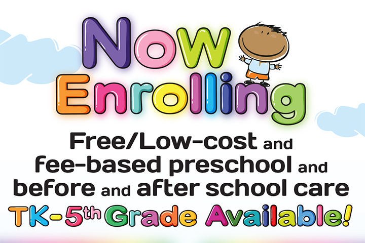 Text illustration, Now Enrolling Free/Low Cost and fee-based preschool and before and after school care