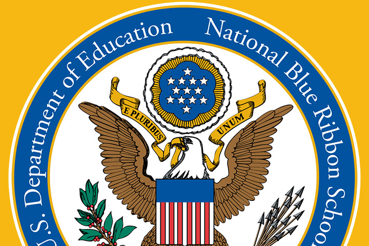 National Blue Ribbon Logo on yellow background