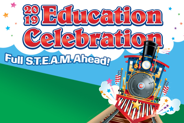 Education Celebration Full S.T.E.A.M Ahead text with train graphic.