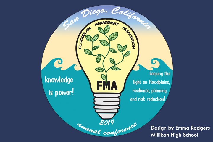Winning floodplain conference logo with light bulb, leaves and waves.
