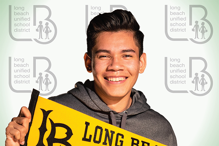 Cabrillo street banner with student Emmanuel Sanchez