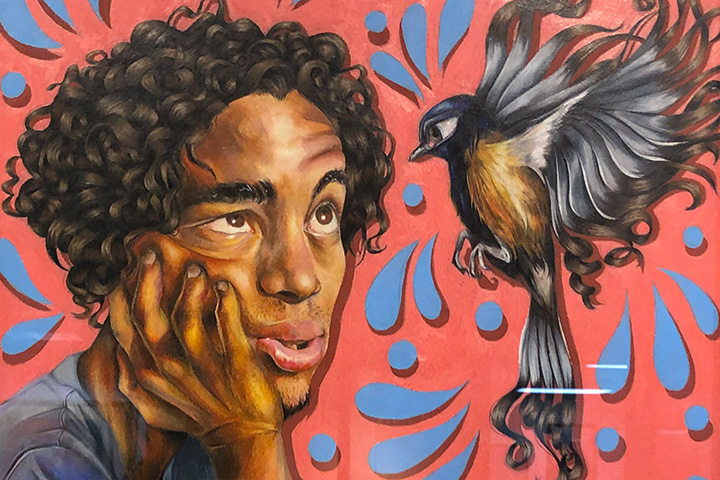 Portrait of boy with bird – artwork by student Aaron Baldwin