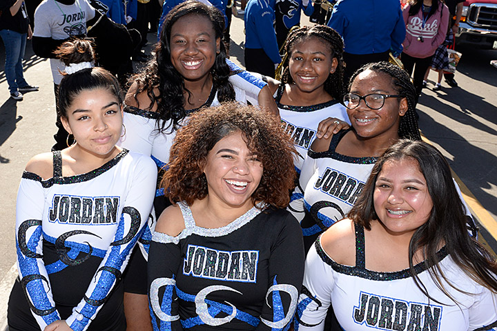 Members of Jordan High School's cheer squad.