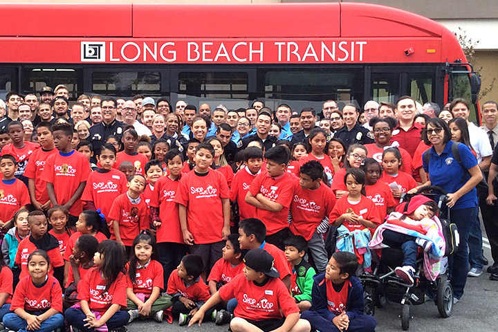 Roosevelt students and police with Long Beach Transit bus at Target