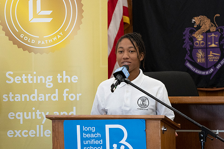 Cabrillo student Alivia Ross speaks at event