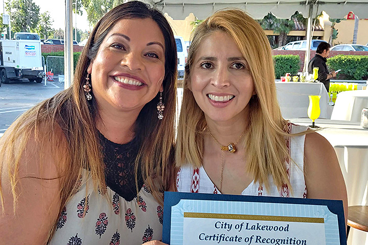 Gompers music teacher Veronica Lucio with friend Yurietta Luviano of LBUSD Textbook Services