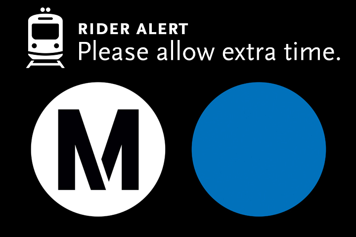 Metro rider alert graphic stating