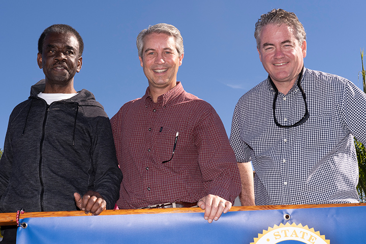LBUSD Board Member Felton Williams, City Prosecutor Doug Haubert, and Assemblyman Patrick O'Donnell at Long Beach's recent Martin Luther King, Jr. Parade