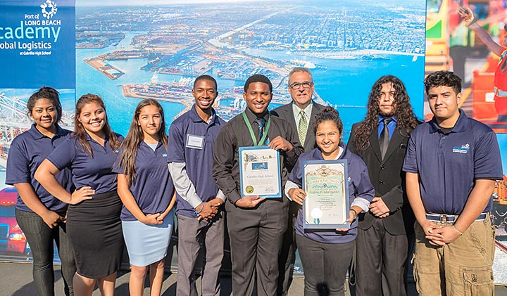 Group of students with teacher at the Port of Long Beach