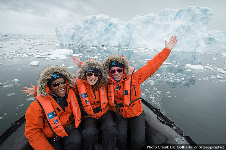 Teacher Kelly Meade encounters an iceberg with colleagues in Antarctica