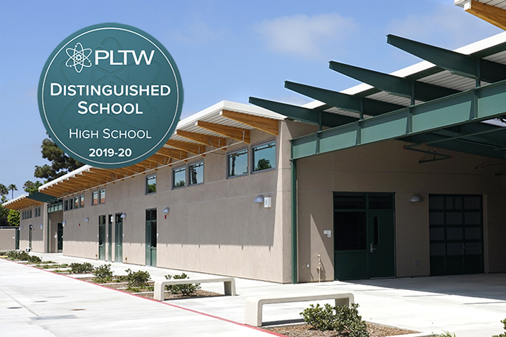 Sato Academy science building and PLTW Award Logo