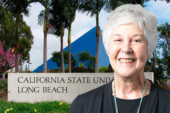 Mary Stanton with CSULB in background