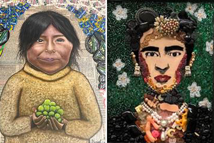 My Veins Are Not Made of Grape Vines portrait, and mosaic portrait of Frida Kahlo