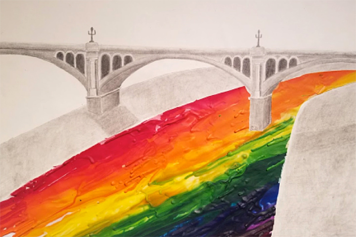 Image of student art depicting a bridge and rainbow.