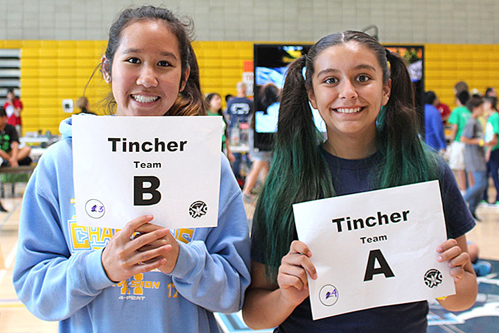 Two Tincher students hold up signs.