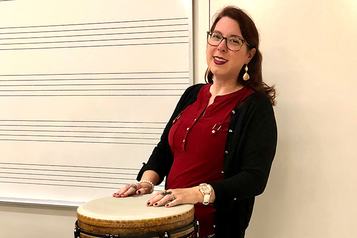 Teacher Valerie Vinnard with Ngoma drum